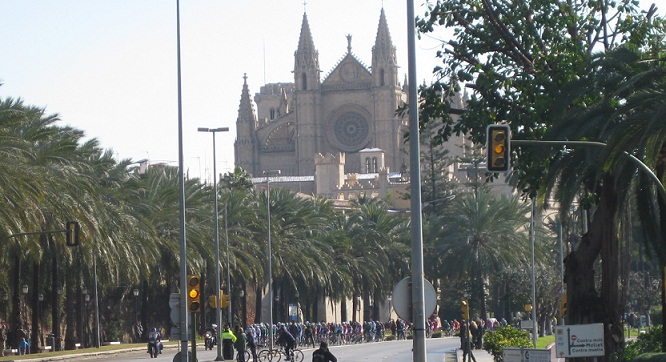 The peloton passing Palma Cathedral