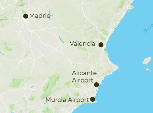 Costa Blanca Arrivals and Departure Map