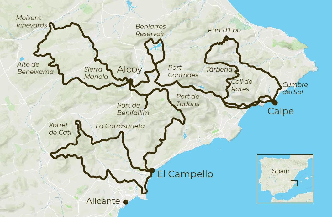 Costa Blanca Cycling Tour Map