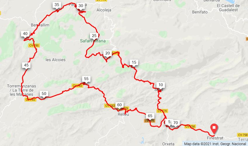 Alto del Tigre Route Map