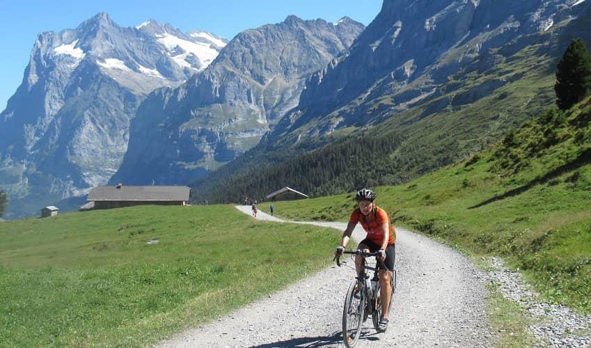 Admiring the scenery on a hybrid bike