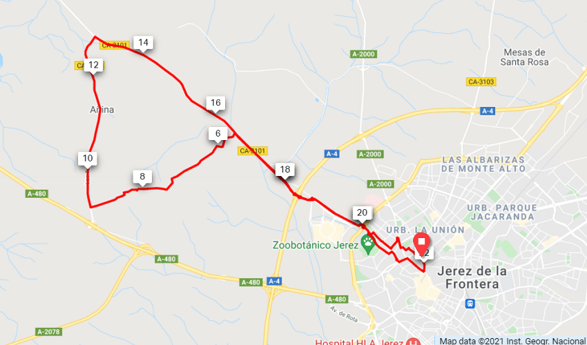 Sherry Vineyards Route Map