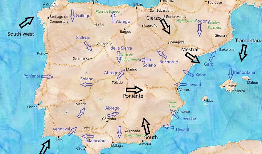 Spain - map of Winds