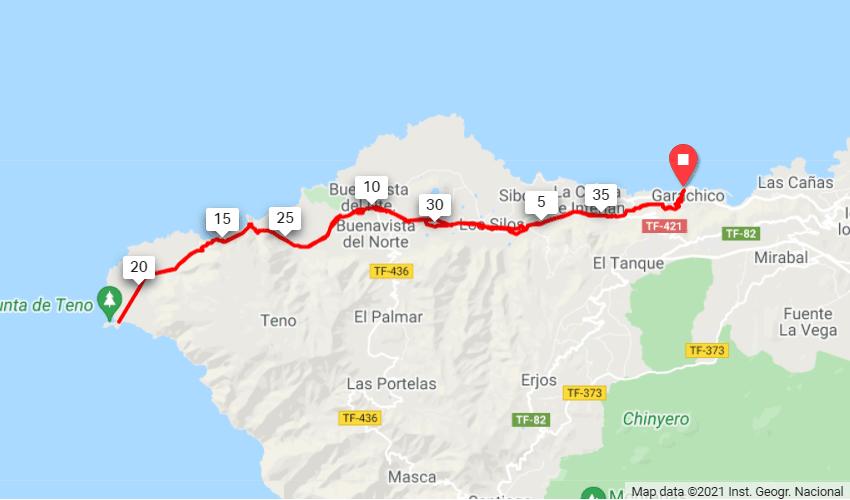 Punta de Teno Route Map