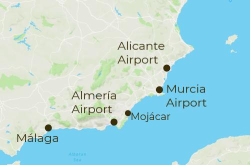 Cabo de Gata Arrivals and Departure Map