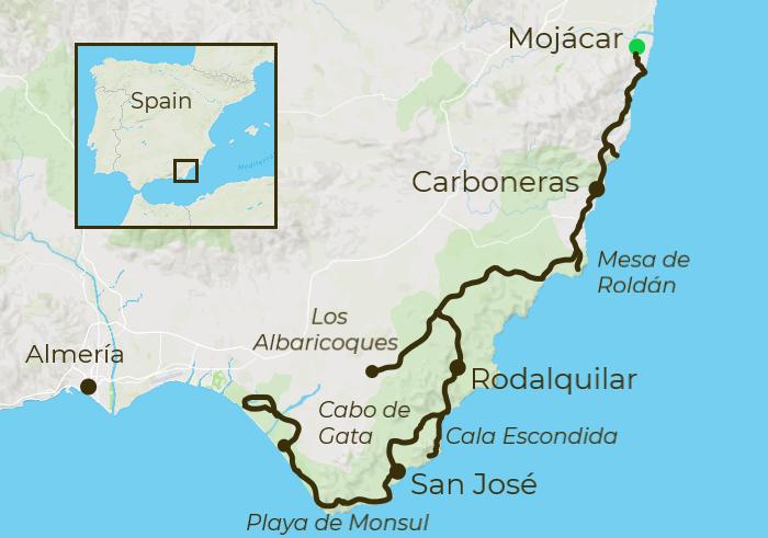 Cabo de Gata Cycling Map