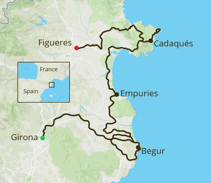 Girona & Costa Brava Cycling Tour Map