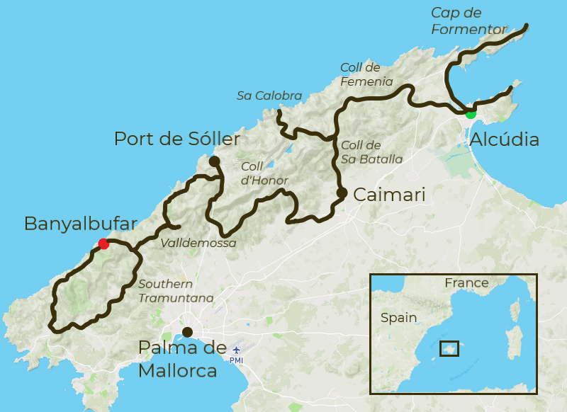 Mallorca Mountains & Coast Tour Map