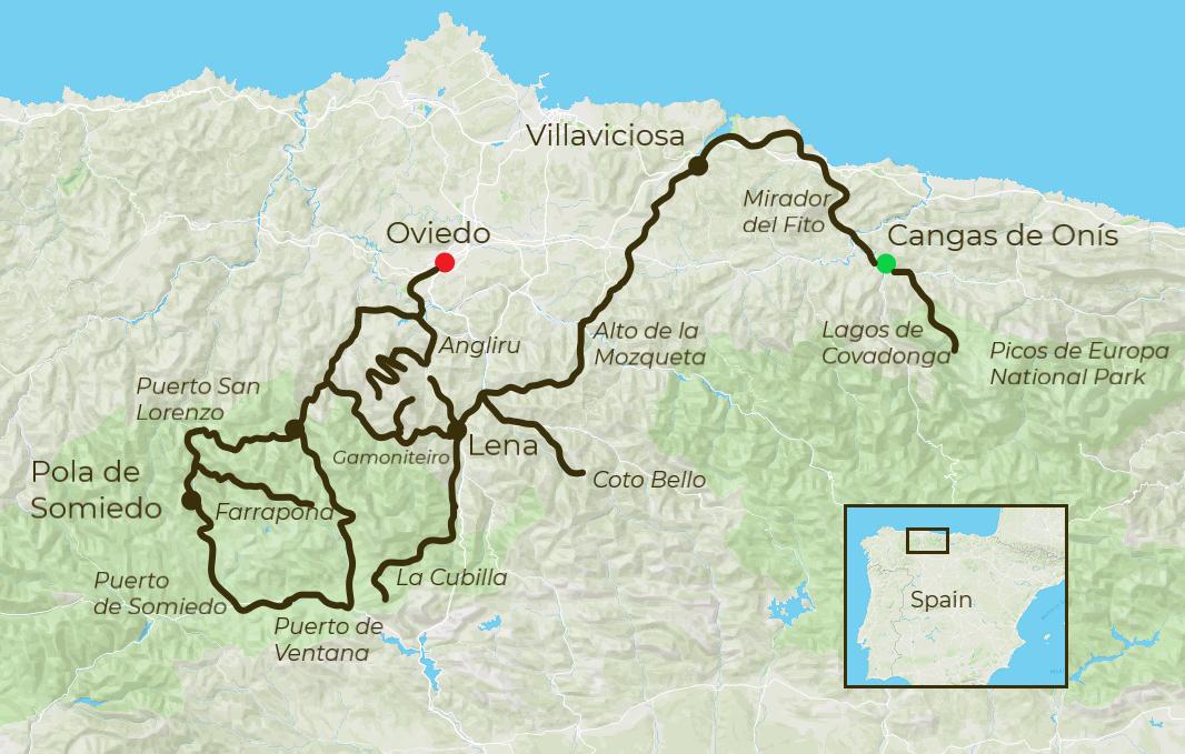 Great Climbs Vuelta Cycling Tour Map
