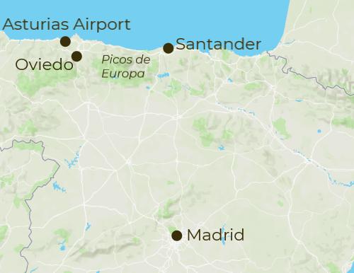 Picos de Europa Arrivals and Departure Map