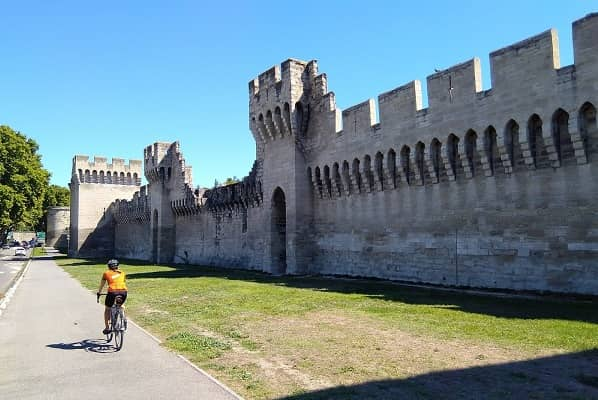 Leaving Avignon alongside its Medieval Walls