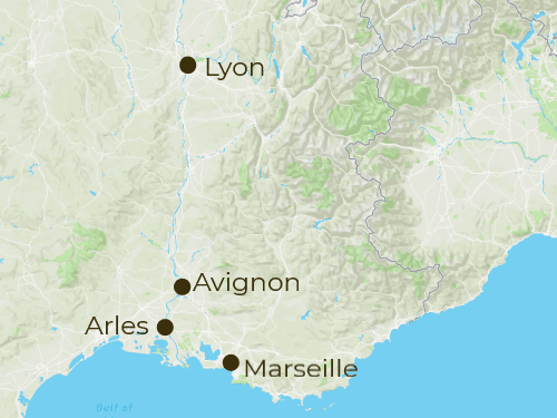 Provence Arrivals and Departure Map