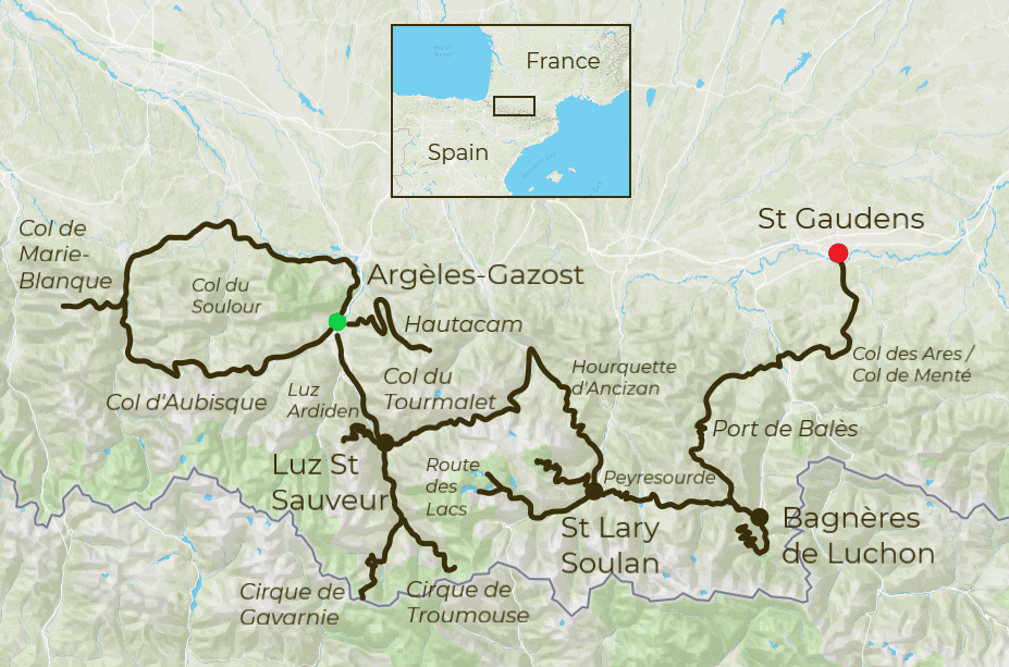Best of the Pyrenees Tour Map