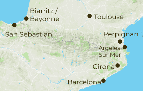 Pyrenees Coast Arrivals and Departure Map