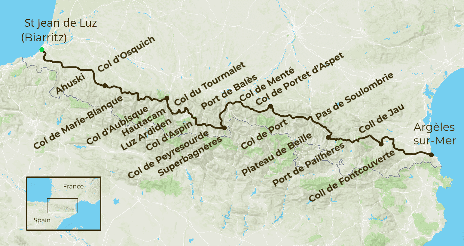 Pyrenees Coast to Coast Cycling Map