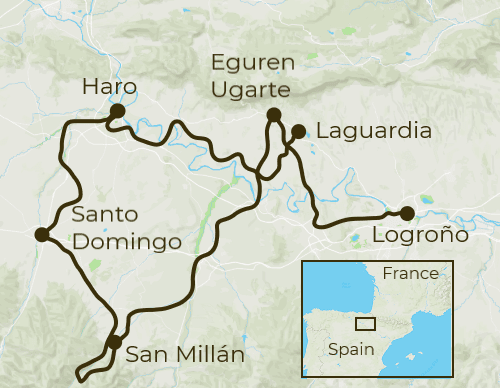 Rioja Self-Guided Cycling Tour Map