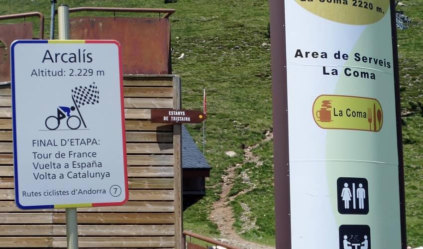 Arcalís sign at top of climb